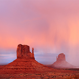 Hail Storm Over the Mittens, Monument Valley, AZ